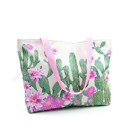 Bolsa Sacola Estampada Cactos e Flores Grande