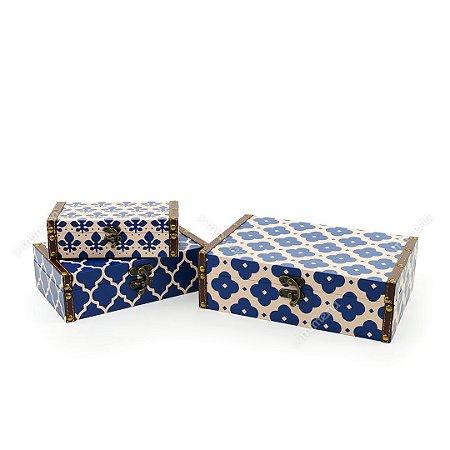 Conjunto 3 Caixas com Fecho Marroquina Azul