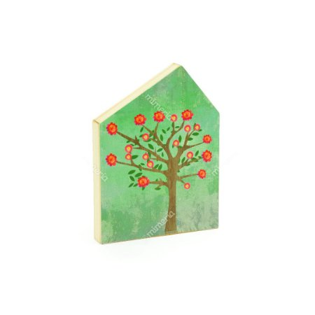 Quadro de Madeira em Forma de Casa Verde Árvore