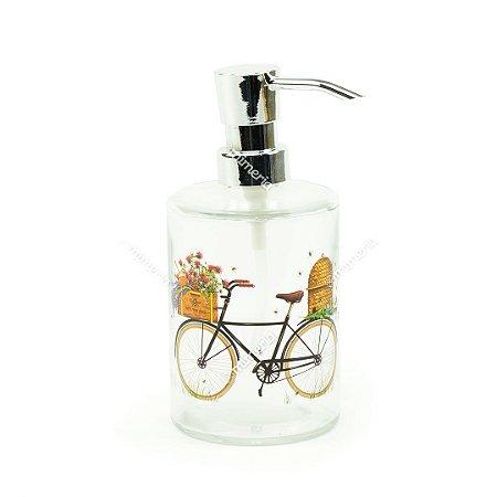 Porta Sabonete Líquido de Vidro Bicicleta Preta