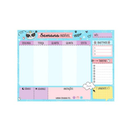 Bloco Planner de Mesa Semanal Gatinho Azul Claro