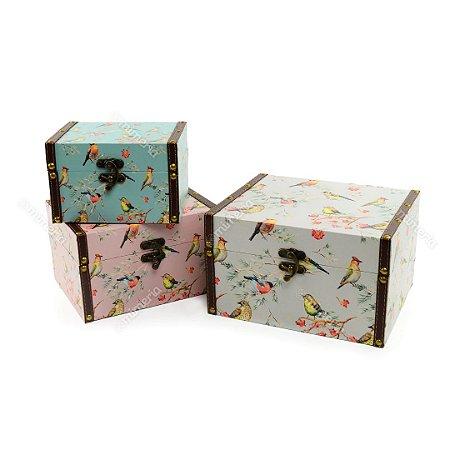 Conjunto 3 Baús com Fecho Pássaros Colorido