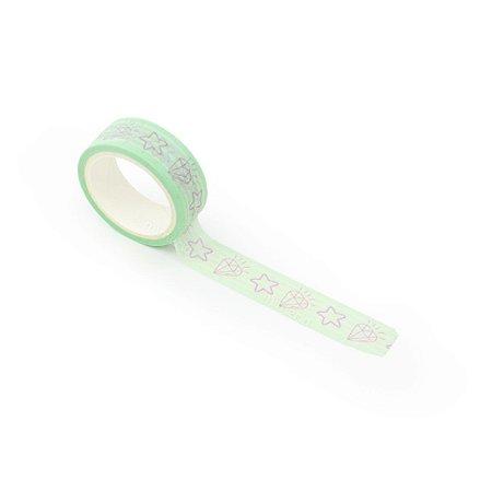 Fita Adesiva Washi Tape Decorada Estrela e Diamante Verde