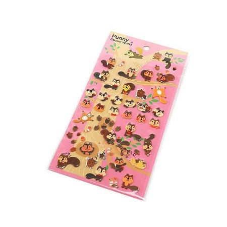 Cartela de Adesivos Stickers Esquilos em Alto Relevo