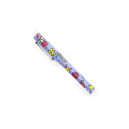 Caneta Esferográfica Estampada Flores Lilás