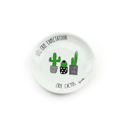 Pratinho Decorativo em Cerâmica Não Crie Expectativas Cactos Pretos e Brancos