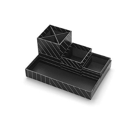 Kit Caixas Organizadoras Noir Listrado