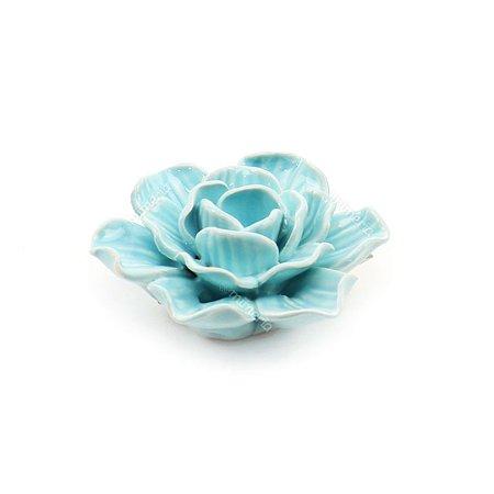 Flor Decorativa em Cerâmica Azul Pequena