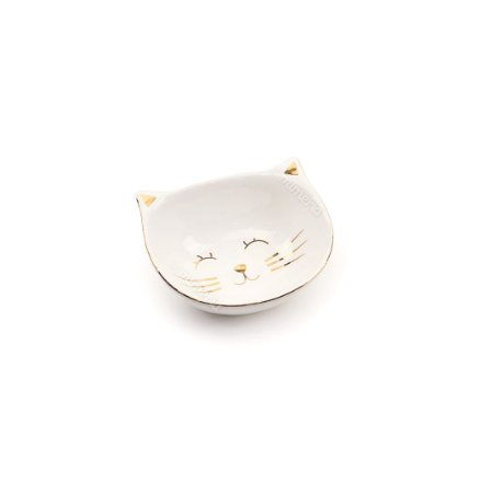 Mini Prato de Cerâmica Gato Branco e Dourado