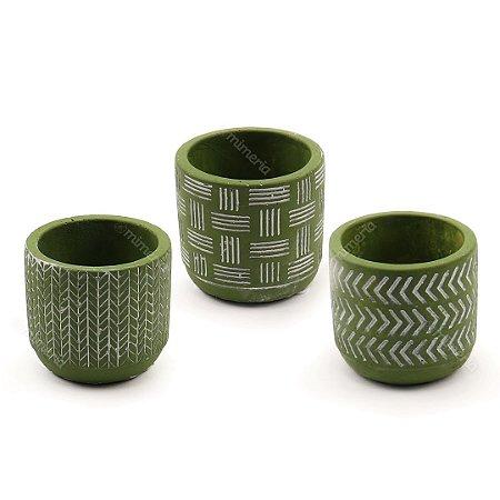 Kit Cachepô Decorativo em Cimento Verde Oliva