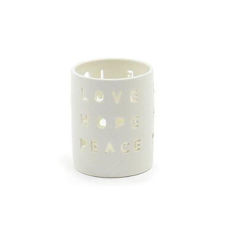 Castiçal de Porcelana Love Hope Peace Branco
