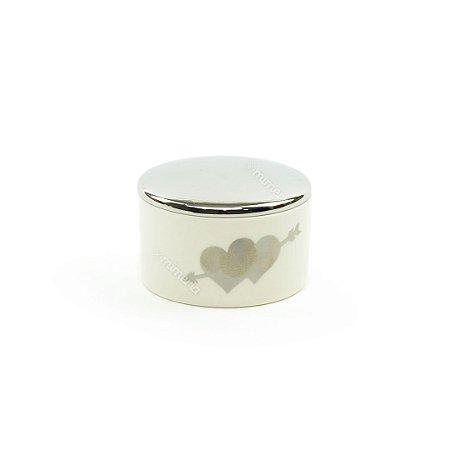 Porta-Joias em Cerâmica Delicado Coração Branco e Prata