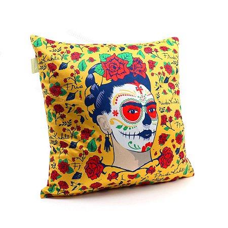 Capa de Almofada Frida Kahlo em Poliéster Flores e Face Amarela