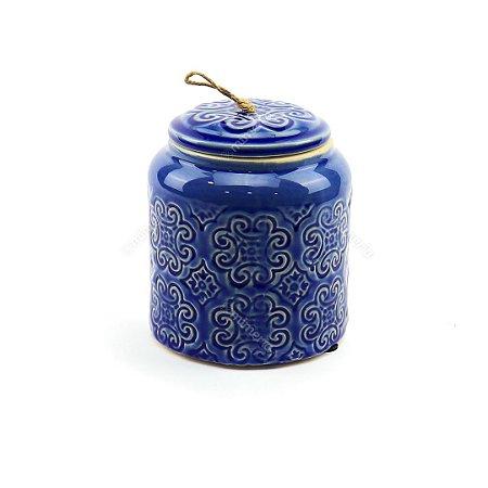 Pote em Cerâmica Flores em Alto Relevo Azul