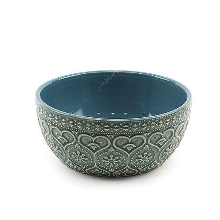 Bowl em Cerâmica Corações e Flores em Alto Relevo Azul