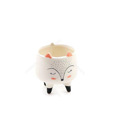 Cachepô em Cerâmica Raposa Branco Pequeno