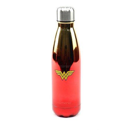 Garrafa de Alumínio Mulher Maravilha Vermelha 500 ml