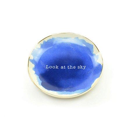 Mini Prato Decorativo em Cerâmica Redondo Look Sky Azul e Branco