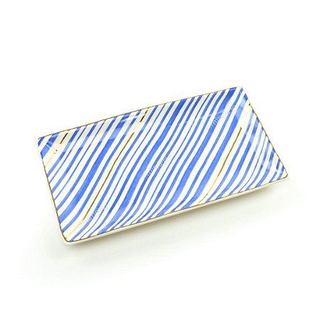 Mini Prato Decorativo em Cerâmica Retangular Listrado Azul e Dourado