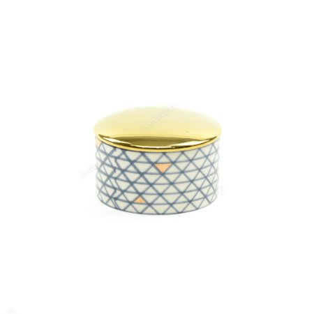 Mini Pote em Cerâmica Redondo Losangos Azul e Dourado