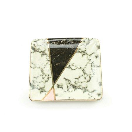 Mini Prato Decorativo em Cerâmica Quadrado Mármore Branco Preto e Rosa