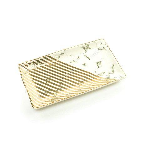 Mini Prato Decorativo em Cerâmica Retangular Mármore Branco e Dourado
