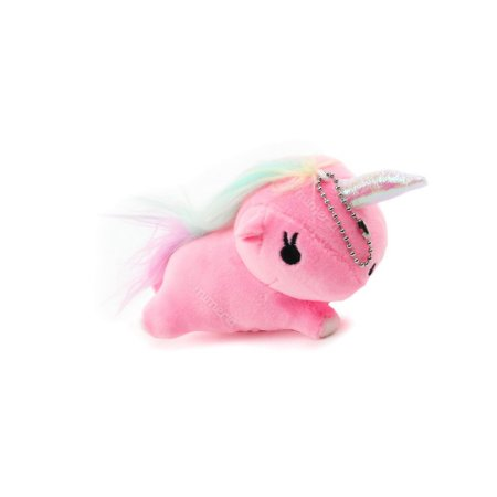 Chaveiro de Pelúcia Unicórnio Deitado Rosa