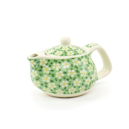Chaleira de Cerâmica Decorativa Verde Florzinhas Brancas Mini