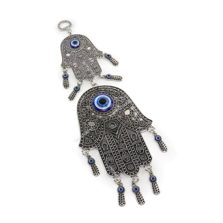 Enfeite Decorativo de Parede Olho Grego Mão de Fátima Prata Médio