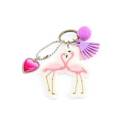 Chaveiro Estampado Tropical Flamingos