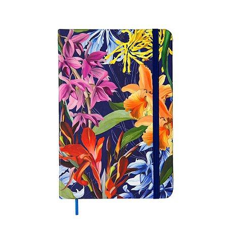 Caderneta Pontada Floral Hype Azul Média