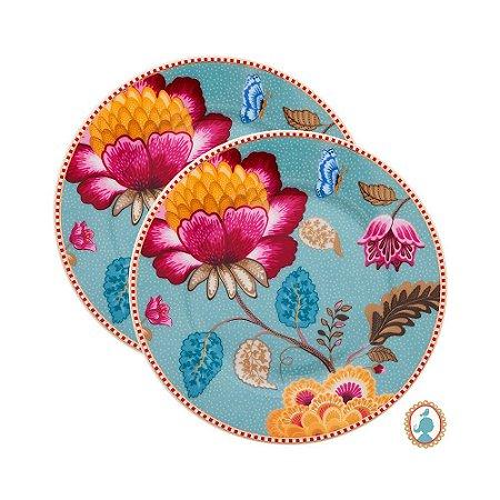 Set/2 Pratos de Pão Azul Floral Fantasy Pip Studio