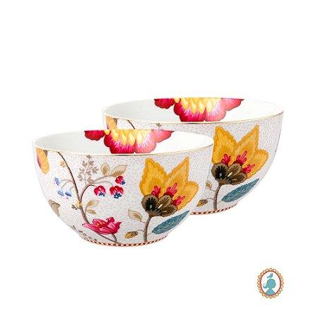 Set/2 Tigela 15 Branco Floral Fantasy Pip Studio