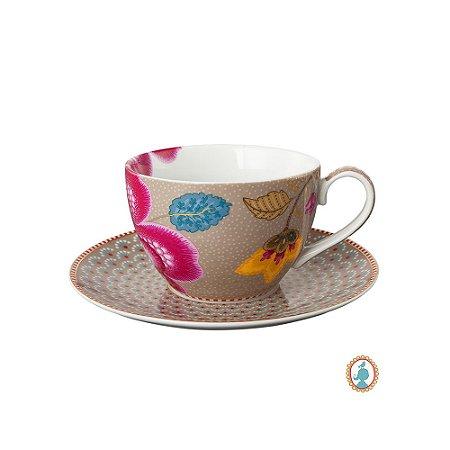 Xícara de Chá Cáqui Floral Fantasy Pip Studio