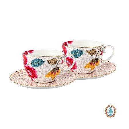 Set/2 Xícara de Chá Branco Floral Fantasy Pip Studio