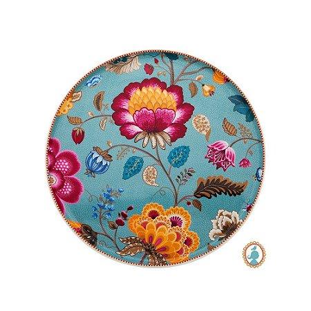 Prato para Bolo Azul Floral Fantasy Pip Studio
