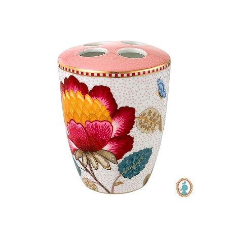 Porta Escova de Dentes Rosa e Branco Floral Fantasy Pip Studio