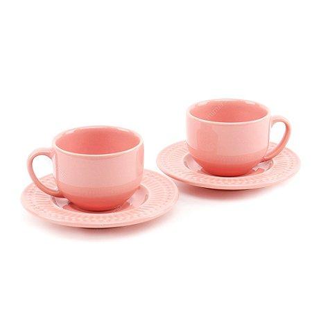 Conjunto Xícaras de Chá 2 Peças Roma Rosa Porto Brasil