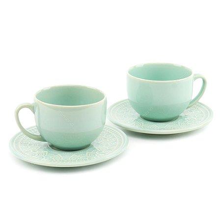 Conjunto de Xícaras de Chá 2 Peças Agra Verde Menta Porto Brasil