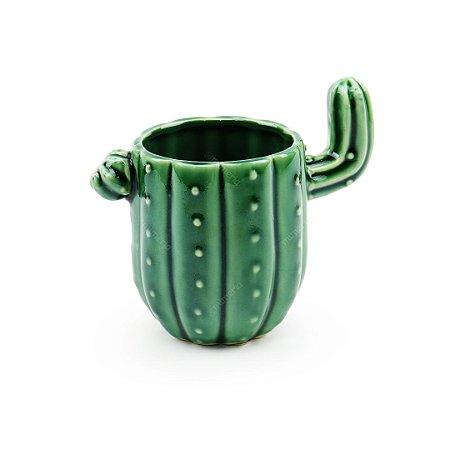 Cachepô em Cerâmica Cacto Verde Escuro