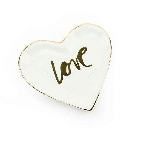 Mini Pratinho Decorativo em Cerâmica Coração Love Dourado