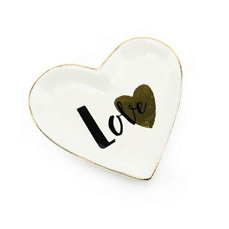 Mini Pratinho Decorativo em Cerâmica Coração Love Dourado e Preto