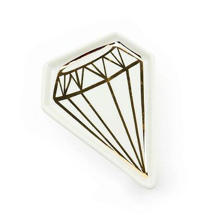 Mini Pratinho Decorativo em Cerâmica Diamante