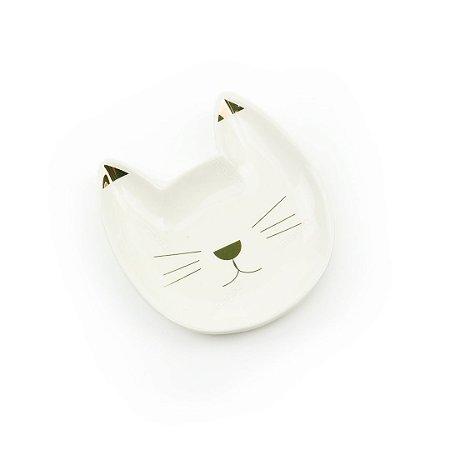 Mini Pratinho Decorativo em Cerâmica Gatinho Branco