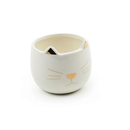 Cachepô em Cerâmica Gatinho Branco Pequeno