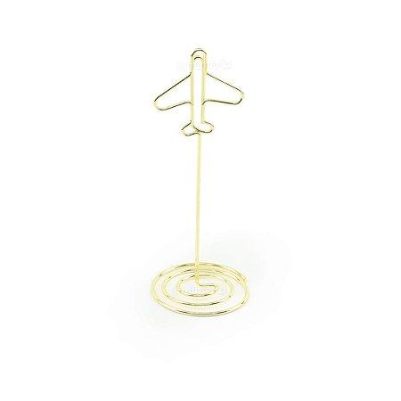 Clipe Porta Recados Avião Dourado
