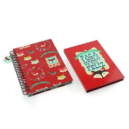 Kit Caderno de Anotações e Caderno Médio Capa Dura Raposas Petit Fox