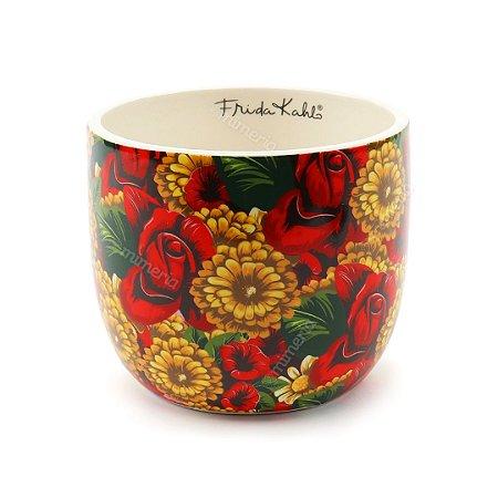 Cachepô em Cerâmica Frida Kahlo Flores Amarelas e Vermelhas