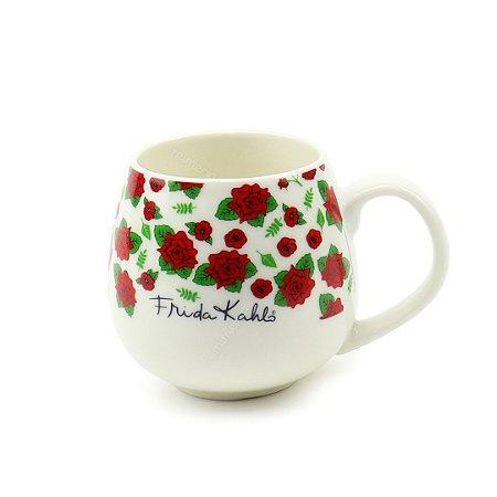 Caneca de Porcelana Frida Kahlo Flores Vermelhas Fundo Branco