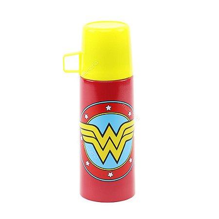 Garrafa Térmica de Inox Logo Mulher Maravilha Amarela